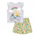 Костюм для девочки 2 в 1, серый. Кот на велосипеде.