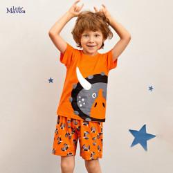 Пижама для мальчика, оранжевая. Портрет трицератопса.