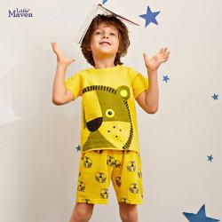 Пижама для мальчика, желтая. Портрет льва.
