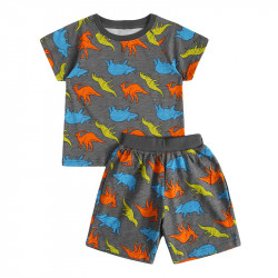 Пижама для мальчика, серая. Разноцветные динозавры.