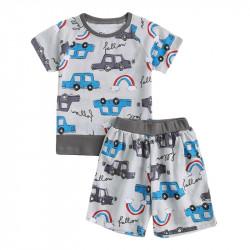 Пижама для мальчика, серая. Машины и радуга.