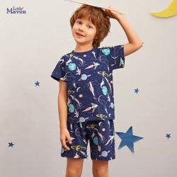 Пижама для мальчика, темно-синяя. Открытый космос.
