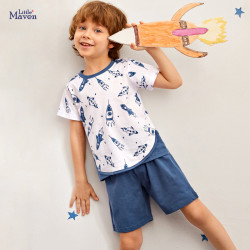 Пижама для мальчика, белая. Ракеты.