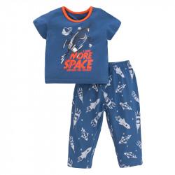 Пижама для мальчика, синяя. Ракета в открытом космосе.