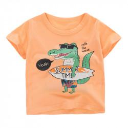 Футболка для мальчика, оранжевая. Крокодил-серфер.