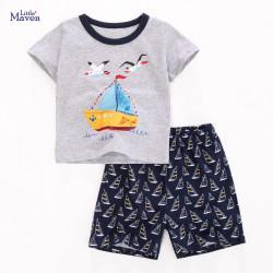 Костюм для мальчика 2 в 1, серый. Корабль и чайки.