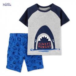 Костюм для мальчика 2 в 1, серый. Вечно голодная акула.