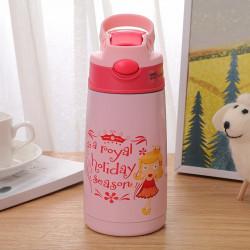 Термос детский, термос-поильник, розовый. Принцесса. 400 мл.