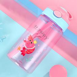 Бутылка детская пластиковая, поильник, розовая. Мадам креветка. 480 мл.