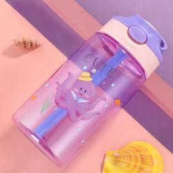 Бутылка детская пластиковая, поильник, фиолетовая. Мистер осьминог. 480 мл.