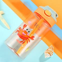 Бутылка детская пластиковая, поильник, оранжевая. Мистер краб. 480 мл.