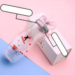 Бутылка с блоком пластиковая, розовая. Enjoy summer. 500 мл.