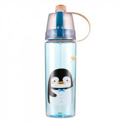 Бутылка с распылителем пластиковая, синяя. Пингвин. 600 мл.