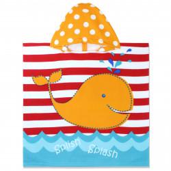 Полотенце-пончо с капюшоном, разноцветное. Оранжевый кит. 60*120 см. Микрофибра.