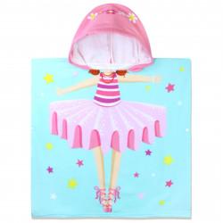 Полотенце-пончо с рюкзачком, мятное. Балеринка. 60*120 см. Микрофибра.