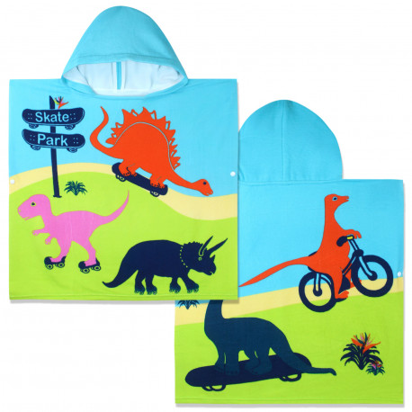 Полотенце-пончо с рюкзачком, разноцветное. Прогулка динозавров. 60*120 см. Микрофибра.