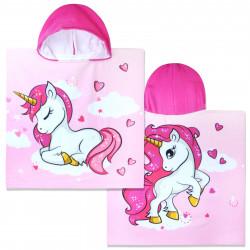 Полотенце-пончо с рюкзачком, розовое. Единорог на облаке. 60*120 см. Микрофибра.
