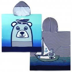 Полотенце-пончо с рюкзачком, синее. Медведь-моряк. 75*150 см. Микрофибра.