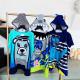 Полотенце-пончо с рюкзачком, синее. Медведь-моряк. 75*105 см. Микрофибра.