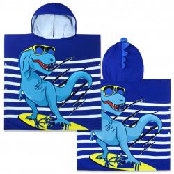 Полотенце-пончо с рюкзачком, синее. Дино-серфер. 75*150 см. Микрофибра.