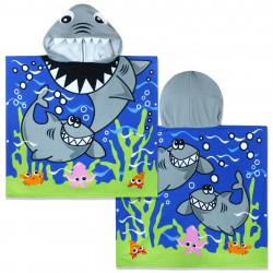 Полотенце-пончо с рюкзачком, синее. Акулы и морское дно. 75*150 см. Микрофибра.