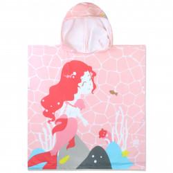 Полотенце-пончо с рюкзачком, розовое. Русалка на берегу. 75*150 см. Микрофибра.