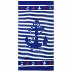 Полотенце банное, темно-синее. Якорь. 70 см * 150 см. Микрофибра.
