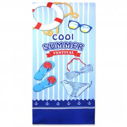 Полотенце банное, голубое. Летний пляж. 70 см * 150 см. Микрофибра.
