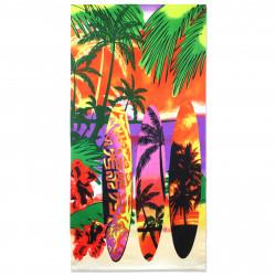 Полотенце банное, разноцветное. Сёрфборды и пальмы. 70 см * 150 см. Микрофибра.