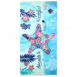 Полотенце банное, голубое. Морская звезда. 70 см * 150 см. Микрофибра.