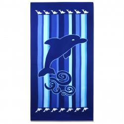 Полотенце банное, синее. Дельфин. 70 см * 150 см. Микрофибра.