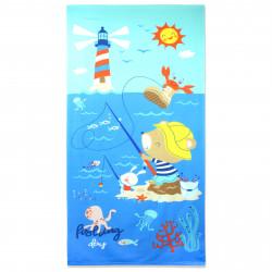 Полотенце банное, голубое. Рыбак и море. 70 см * 150 см. Микрофибра.
