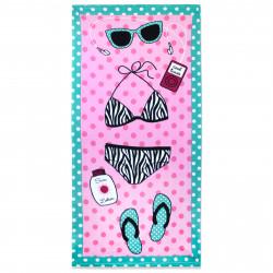 Полотенце банное, розовое. Пляжный отдых. 70 см * 150 см. Микрофибра.
