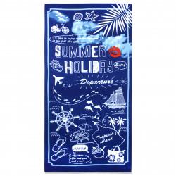 Полотенце банное, темно-синее. Летние каникулы. 70 см * 150 см. Микрофибра.