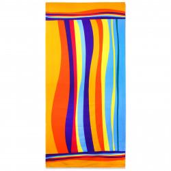 Полотенце банное, разноцветное. Радужные волны. 70 см * 150 см. Микрофибра.