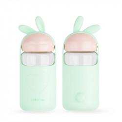 Бутылка стеклянная с силиконовым чехлом, мятная. Малыш кролик. 340 мл.