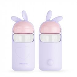 Бутылка стеклянная с силиконовым чехлом, сиреневая. Малыш кролик. 340 мл.