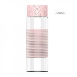 Бутылка стеклянная с силиконовой вставкой, розовая. Обмотка. 350 мл.