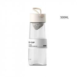 Бутылка с ситечком пластиковая, молочная. U-Cup. 500 мл.