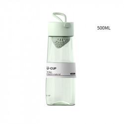 Бутылка с ситечком пластиковая, мятная. U-Cup. 500 мл.