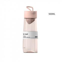 Бутылка с ситечком пластиковая, розовая. U-Cup. 500 мл.