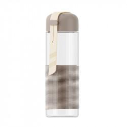 Бутылка стеклянная с силиконовой вставкой, кофейная. Спиралька. 350 мл.