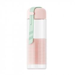 Бутылка стеклянная с силиконовой вставкой, розовая. Спиралька. 350 мл.