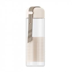 Бутылка стеклянная с силиконовой вставкой, бежевая. Спиралька. 350 мл.