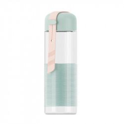 Бутылка стеклянная с силиконовой вставкой, мятная. Спиралька. 350 мл.