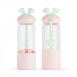 Бутылка стеклянная с силиконовым чехлом, персиковая. Милашка зайка. 350 мл.