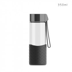 Бутылка стеклянная с силиконовым чехлом, черная. Hot and cool. 350 мл.