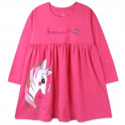 Платье для девочки, малиновое. Единорог и бабочка.