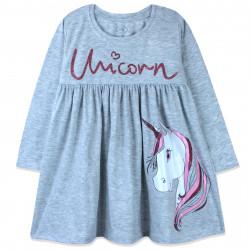 Платье для девочки, серое. Модный единорог.