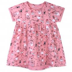 Платье для девочки, розовое. Танцующие балерины.